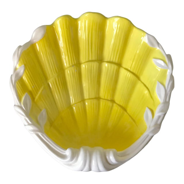 1980s Vintage Fitz & Floyd Yellow & White Seashell Dish For Sale