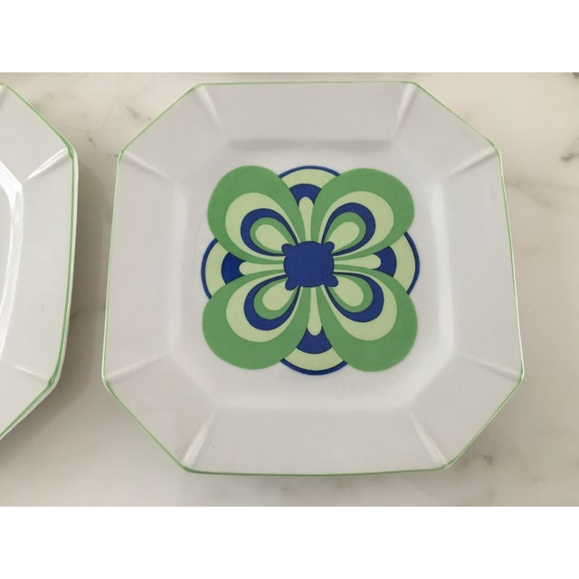 Ceramic Vintage 1970s Blue and Green Retro Plates - Set of 8 For Sale - Image 7 of 8