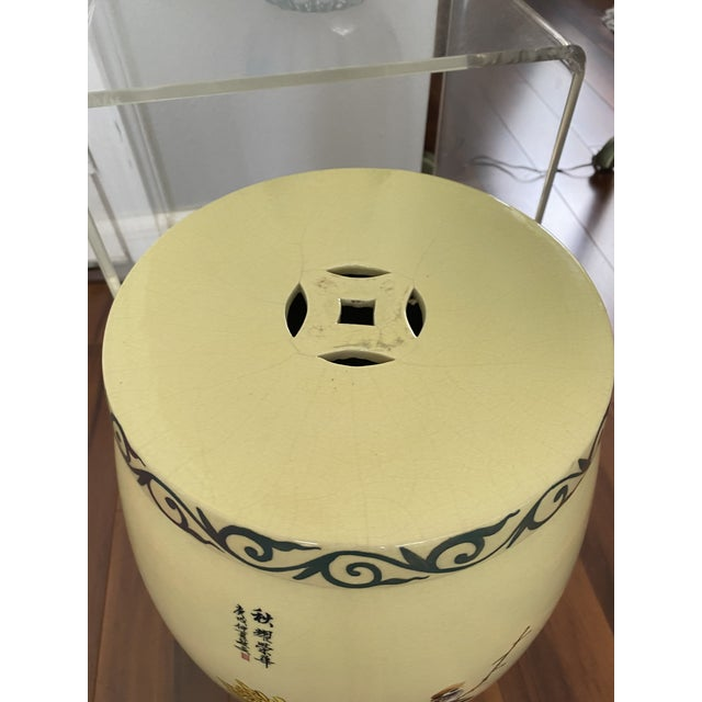 Asian Vintage Yellow Hand Painted Glazed Garden Stool For Sale - Image 3 of 8