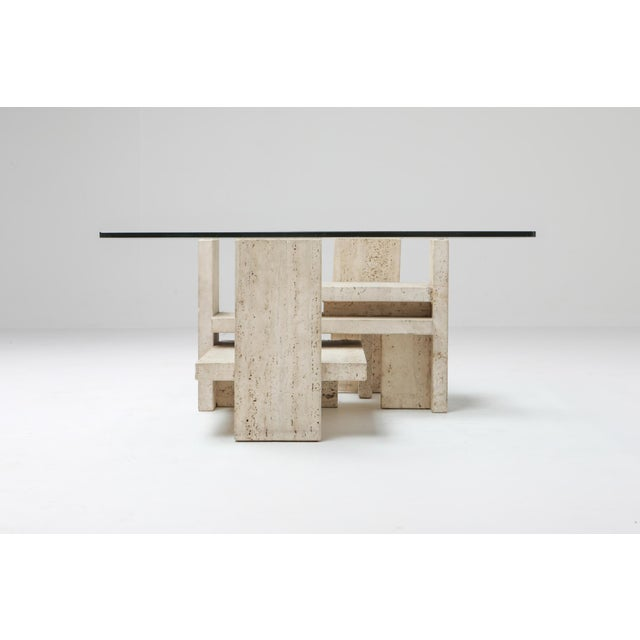 Contemporary Travertine Postmodern Coffee Table - 1970s For Sale - Image 3 of 10
