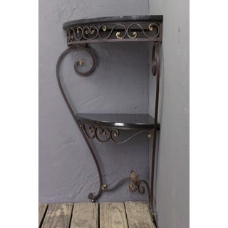 French 1940s Iron and Granite Corner Console Preview