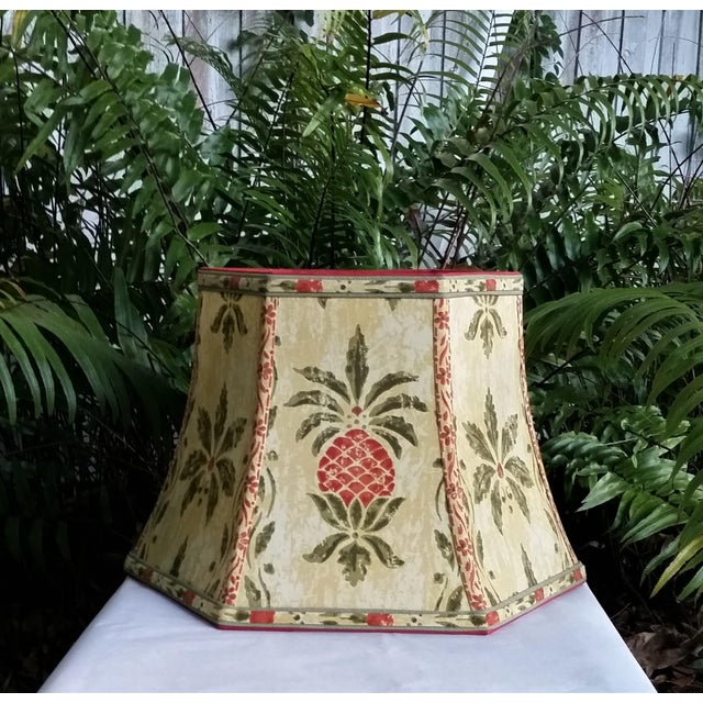 Vintage Pineapple Greeff Fabric Mustard Olive Green and Coral Lampshade For Sale - Image 9 of 11