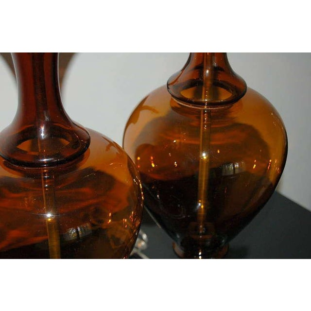 Marbro Vintage Murano Glass Table Lamps in Cognac For Sale In Little Rock - Image 6 of 9