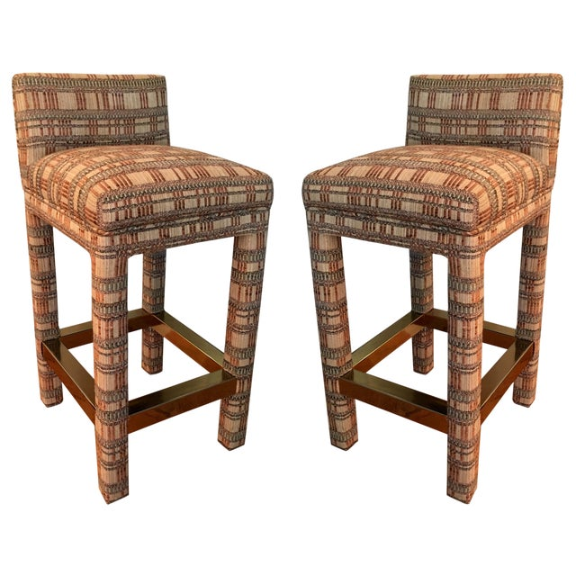 Incredible Pair of Parsons Style Bar Stools For Sale