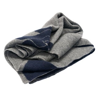 Cabin Collection Blanket in Navy/Gray For Sale