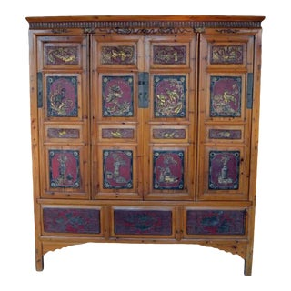 19th Century Antique Chinese Wide and Large Hand-Carved Gilt Wooden Cabinet For Sale