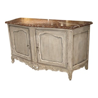 Large Painted Antique Buffet With Marble Top, Provence, Late 19th Century For Sale