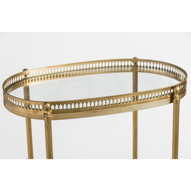 Metal French Brass Two Tiers Petite Gallery Table After Maison Jansen C.1970 For Sale - Image 7 of 10