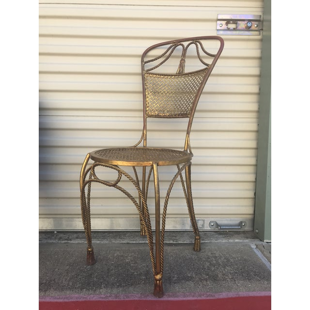1960s 1960s Vintage Italian Gold Gold Metal Tassel Petite Chair For Sale - Image 5 of 5
