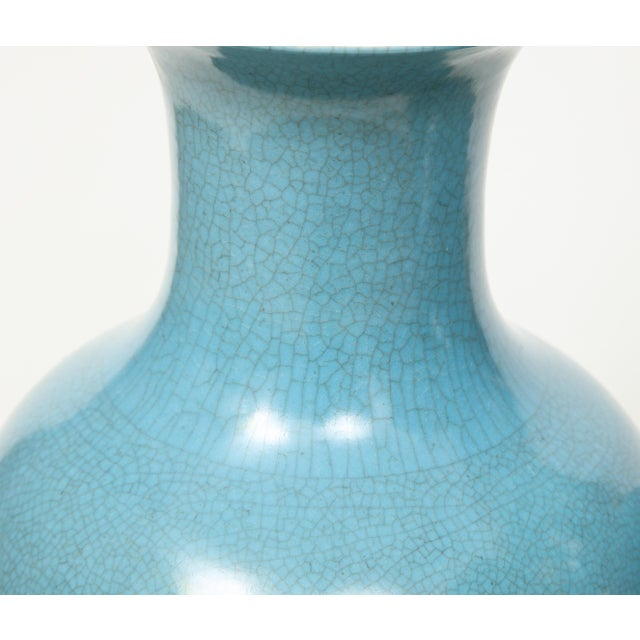 Crackle Glazed Blue Vase Lamps - A Pair For Sale - Image 4 of 13