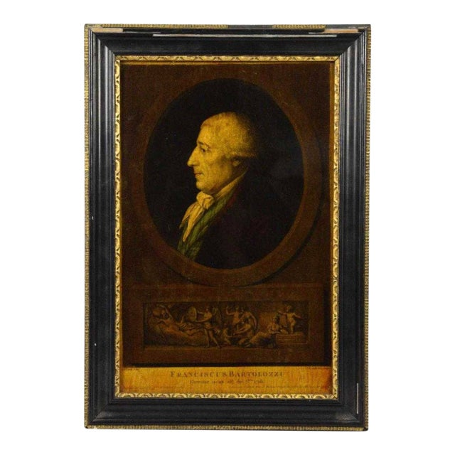 I. Bouillard (19th Century) Franciscus Bartolizzi Reverse Painting on Glass For Sale