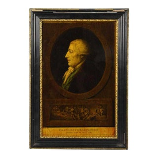 I. Bouilliard (19th Century) Franciscus Bartolizzi Reverse Painting on Glass For Sale