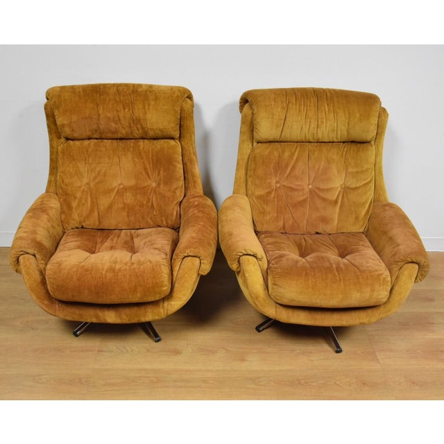 Orange Lounge Chairs & Ottomans - a Pair - Image 2 of 10