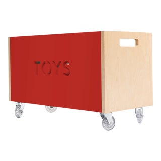Toy Box Chest on Casters in Birch With Red Finish For Sale