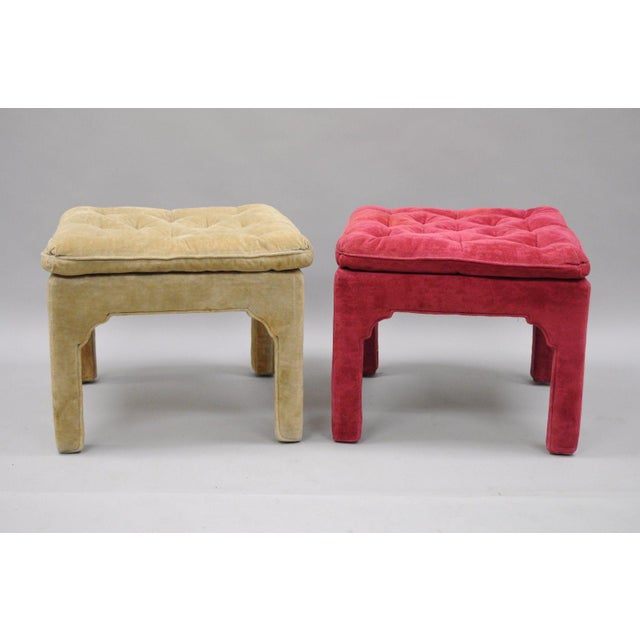 Vintage Hollywood Regency Parson Pink & Beige Stools Upholstered Bench Ottoman - a Pair - Image 3 of 11