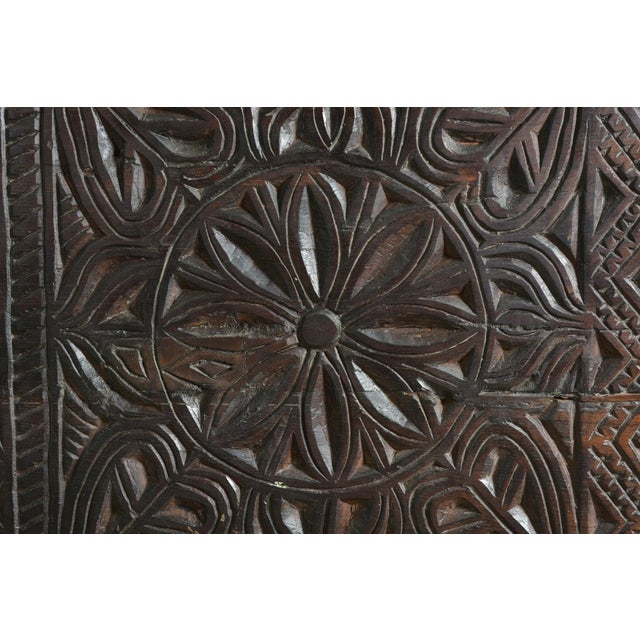Tribal Wooden Carved Trunk - Image 6 of 7