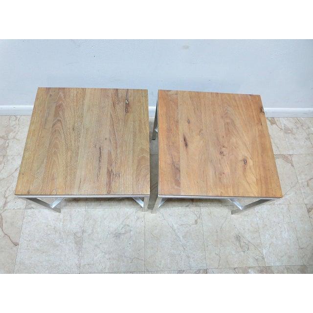 Milo Baughman Tomlinson Milo Baughman Mid-Century Walnut Aluminum End Tables - A Pair For Sale - Image 4 of 8