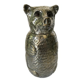 Italian Silver Plated Bear Wine Cooler