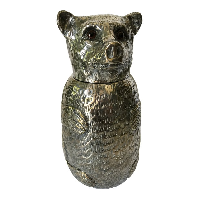 Italian Silver Plated Bear Wine Cooler For Sale