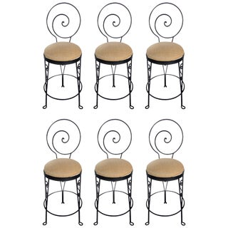 Mid-Century Modern Sculptural Wrought Iron Bar Stools For Sale