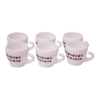 Set of Six Italian Modern Milk Glass Espresso Cups For Sale
