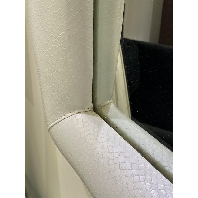 1970s Vintage Karl Springer Style Faux Snakeskin Upholstered Mirror For Sale - Image 5 of 11