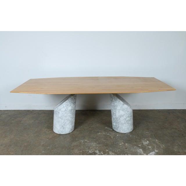 Italian Style Carrara Marble Twin Pedestal Conference Table Chairish - Pedestal conference table