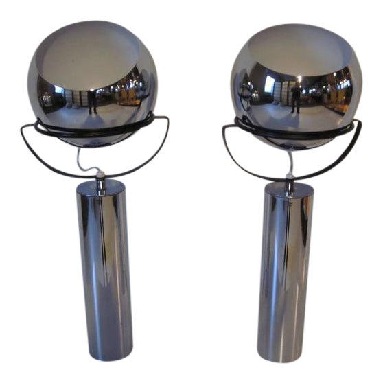 Robert Sonneman Adjustable Ball Table Lamps - a pair For Sale