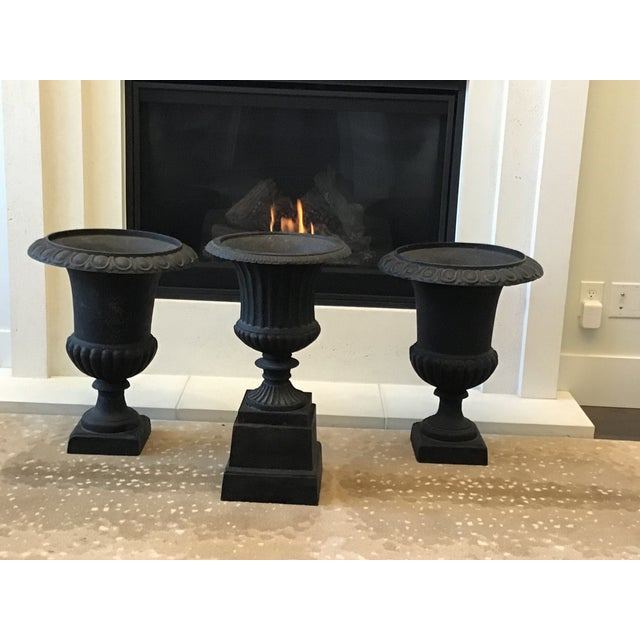 20th Century French Classical Black Cast Iron Urns - Set of 3 For Sale - Image 10 of 13