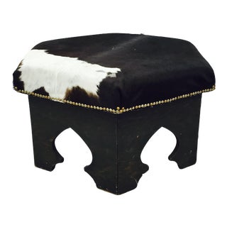 Vintage Hexagonal Hide Ottoman For Sale