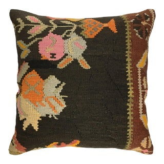 "Funky Floral Vintage Kilim Pillow | 20"" For Sale"