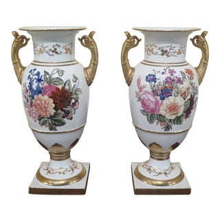1990s Vintage Chelsea House Paint Decorated Porcelain Serves Style Urns- a Pair For Sale