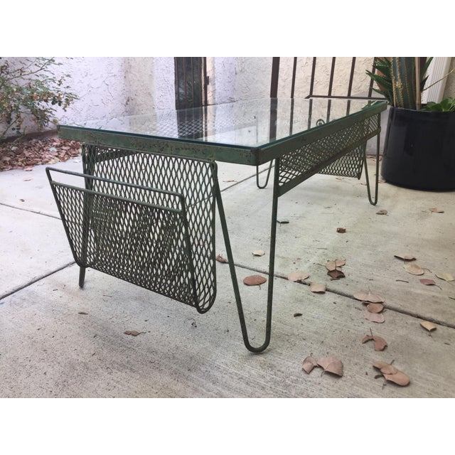 1960s Unique Iron & Glass Mid-Century Modern Outdoor Indoor Patio Coffee Table For Sale - Image 5 of 12