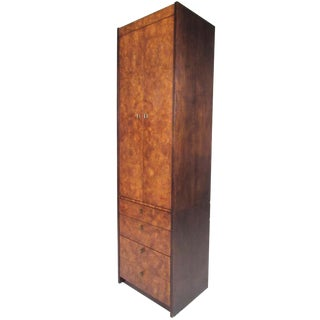 Mid-Century Burl Wood Linen Cabinet by Century Furniture For Sale