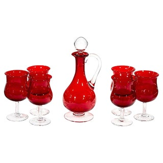 1960s Red Glass Wine Decanter Set, Set of 7 For Sale