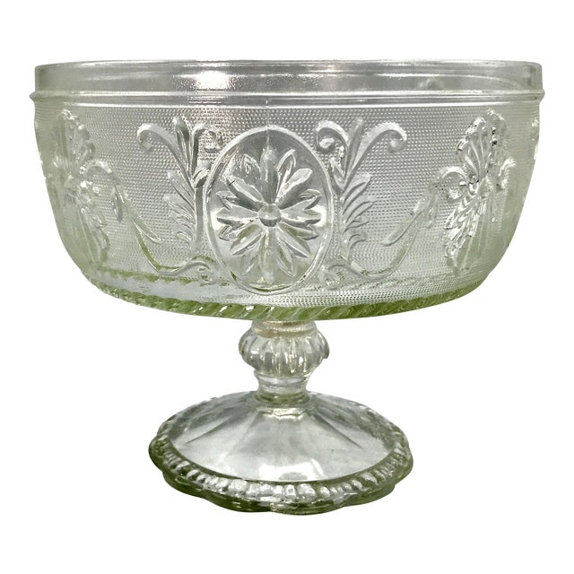 1940s Art Deco Pressed Sandwich Glass Compote Bowl For Sale