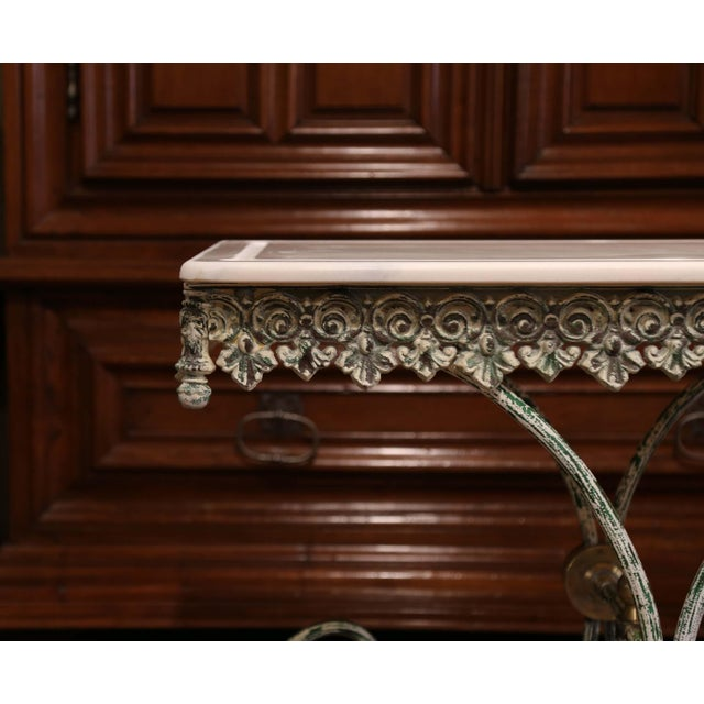 Painted French Iron Butcher or Pastry Table With Marble Top and Brass Finials For Sale In Dallas - Image 6 of 12