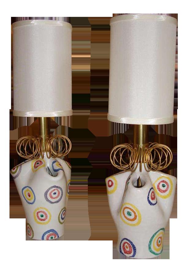 Pair Of Playful Painted Ceramic Boudoir Lamps   Image 1 Of 5