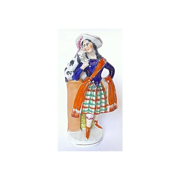 Antique English Staffordshire Woman & Dog Figurine - Image 2 of 5