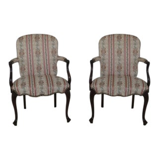 Hickory Chair Co. French Upholstered Open Arm Chairs - a Pair For Sale