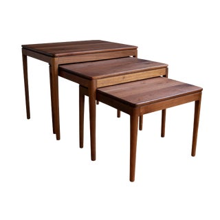 1960s Walnut Nesting Tables by Kipp Stewart for Drexel - Set of 3 For Sale