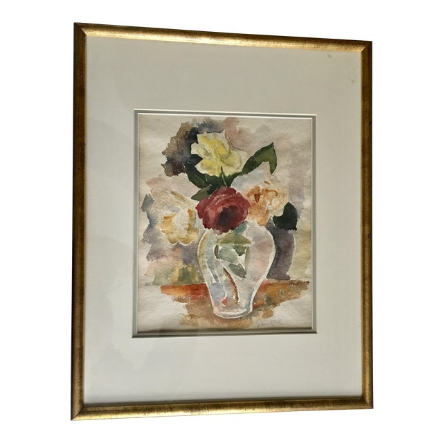 Floral Still Life With Roses Watercolor For Sale