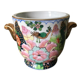 Vintage Chinoiserie Hand Painted Cache Pot