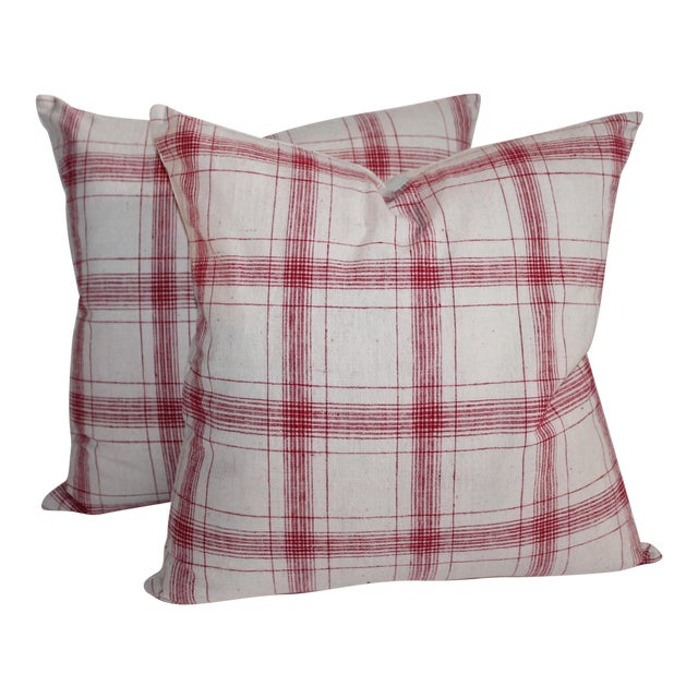 Red and White Striped Pillows - A Pair For Sale