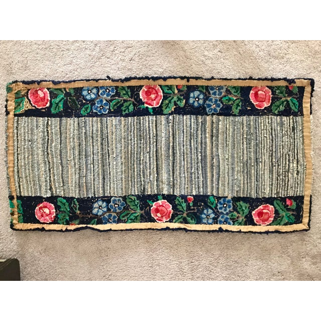 Early 20th Century Antique Hooked Rug - 4′3″ × 1′10″ For Sale - Image 6 of 8