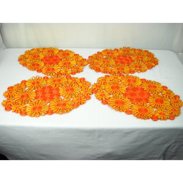 1970s Floral Raffia Placemats - Set of 4 - Image 6 of 9