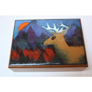 Vintage Walnut and Enamel 'Deer' Playing Card / Jewelry Box by Decatur Industries Preview