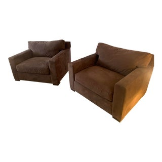Crate and Barrel Axis II MicroSuede Chairs- A Pair For Sale