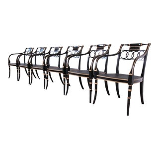 Baker Furniture Ebonized and Gold Gilt Regency Style Armchairs, Set of Six For Sale
