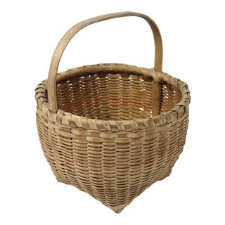 Nicely Hand Woven Antique American Handled Carry Basket For Sale